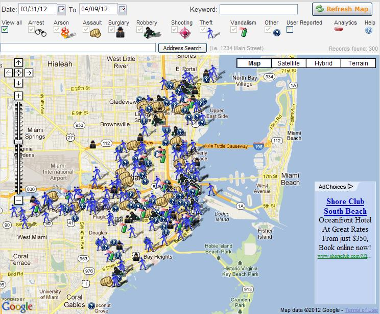 Miami Crime Map from 3/31/2012 to 4/9/2012 | conservativejock on